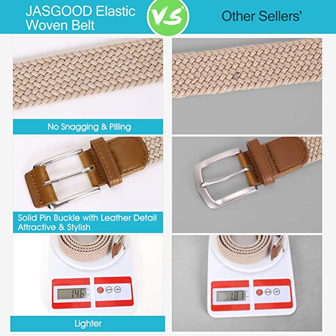 JASGOOD Braided Stretch Belts Mens,Woven Elastic Belt-Causal Belt for Golf Pants Jeans Women/Junior - JASGOOD-OFFICIAL