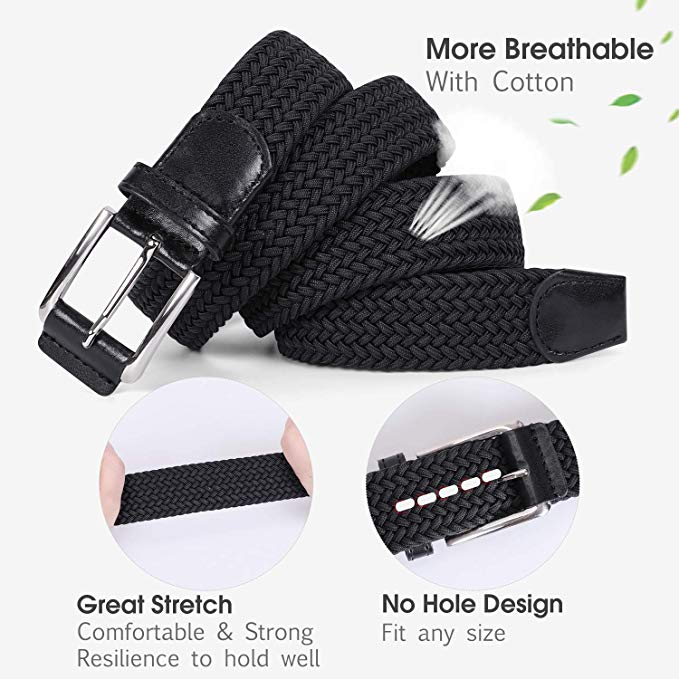 JASGOOD Braided Stretch Belts Mens,Woven Elastic Belt-Causal Belt for Golf Pants Jeans