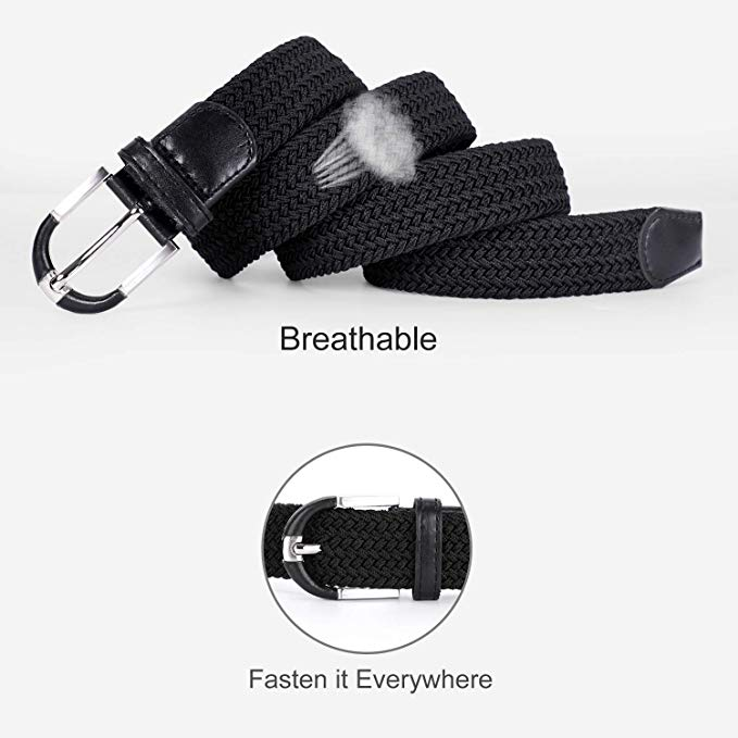 JASGOOD Men Elastic Woven Belt Men Braided Stretch Belt Casual Belt for Jeans with High Quality Strap