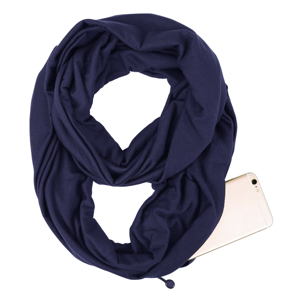 Fashion Infinity Scarf with Zipper Pocket Loop Scarf for Women and Men Neck Head Scarves Travel Wrap - JASGOOD OFFICIAL