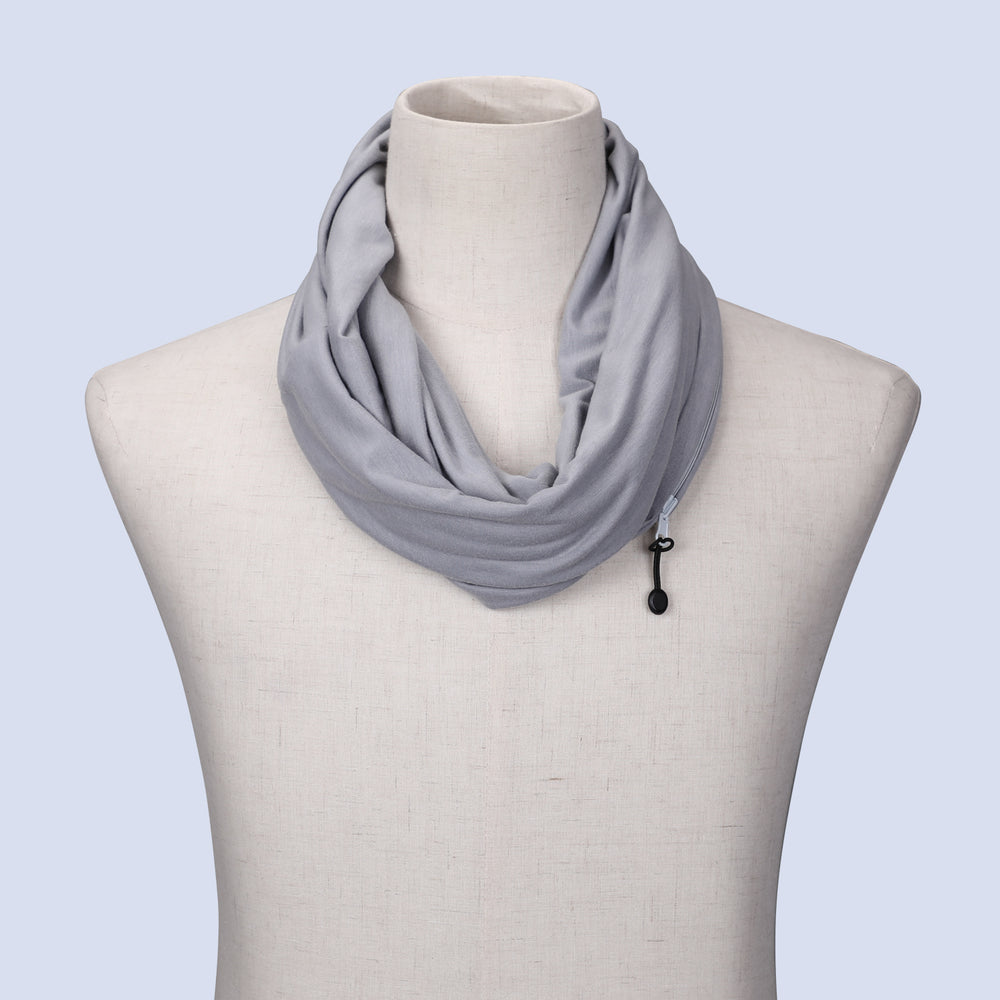 Fashion Infinity Scarf with Zipper Pocket Loop Scarf for Women and Men Neck Head Scarves Travel Wrap - JASGOOD-OFFICIAL