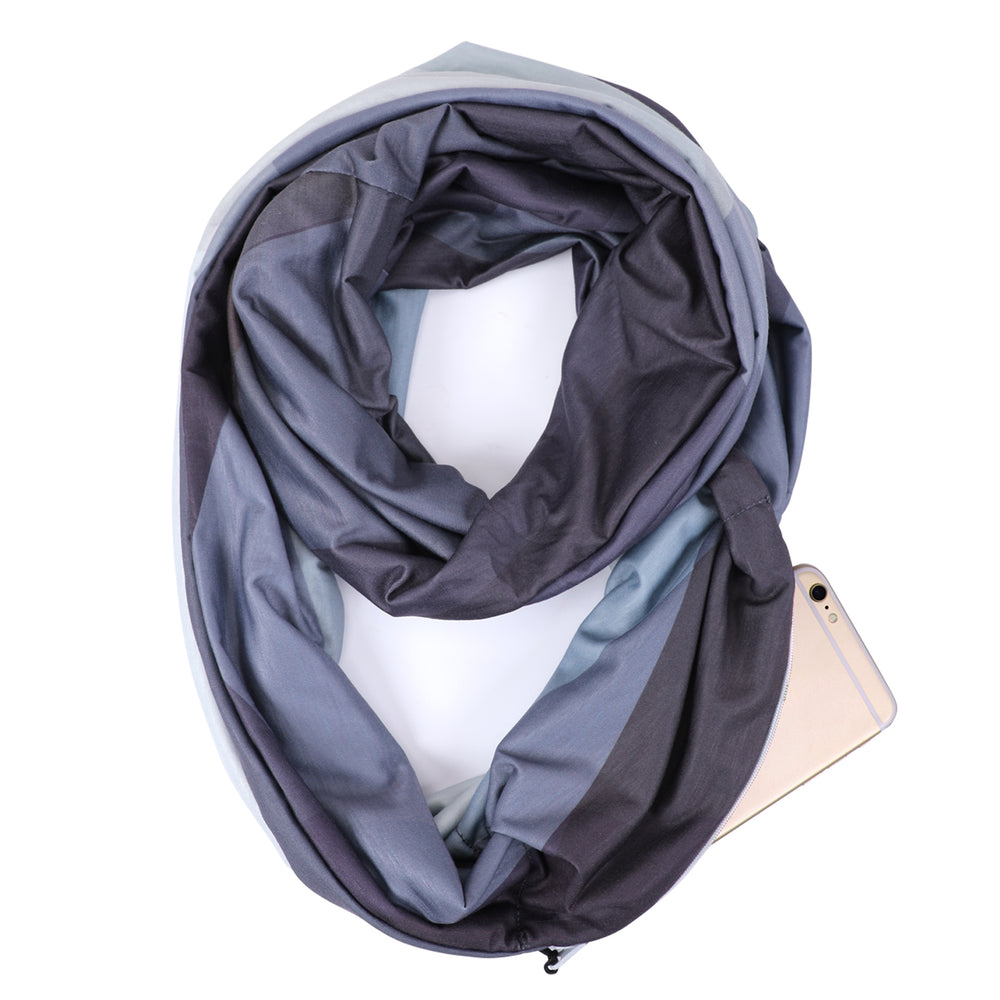 Fashion Infinity Scarf with Zipper Pocket Loop Scarf for Women and Men Neck Head Scarves Travel Wrap-JASGOOD OFFICIAL