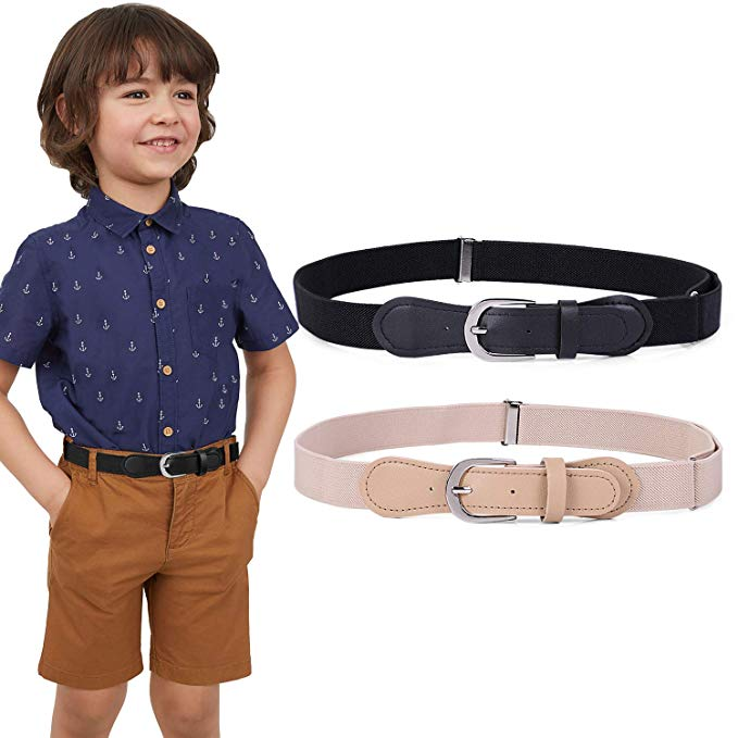 JASGOOD Kids Elastic Adjustable Belts, Stretch Belts for Boys and Girls with Leather Closure