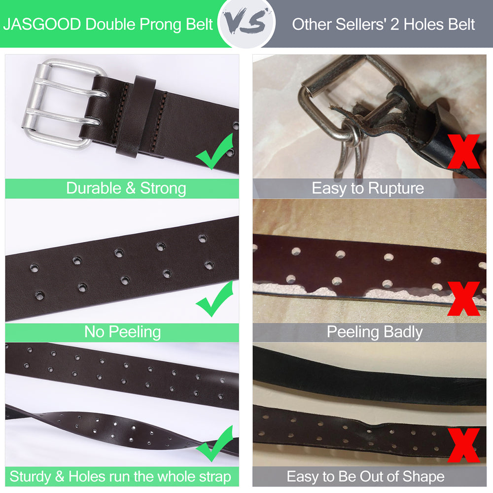 JASGOOD Double Prong Belt for Men,PU Leather Work Belts for Jeans,2 Hole Leather Belts for Men-Casual Leather Belt for Pants - JASGOOD-OFFICIAL