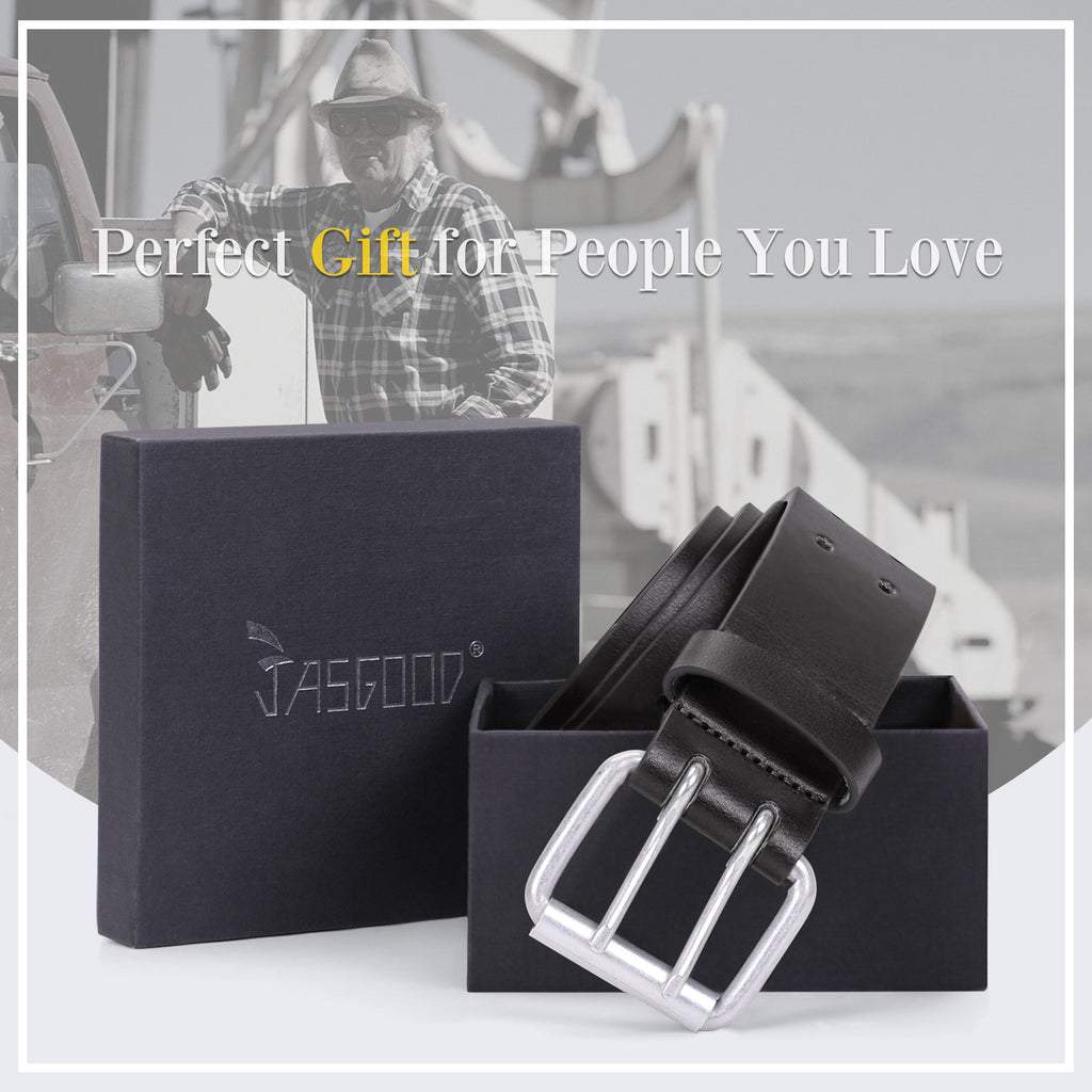 JASGOOD Double Prong Belt for Men,PU Leather Work Belts for Jeans,2 Hole Leather Belts for Men-Casual Leather Belt for Pants