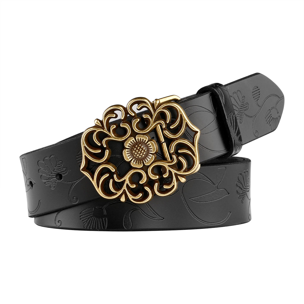 JASGOOD Western Fashion Leather Belts For Women With Vintage Hollow Flower Buckle