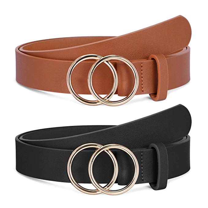 BALTEUS 2 Pack Women Leather Belts Faux Leather Jeans Belt with Double O-Ring Buckle