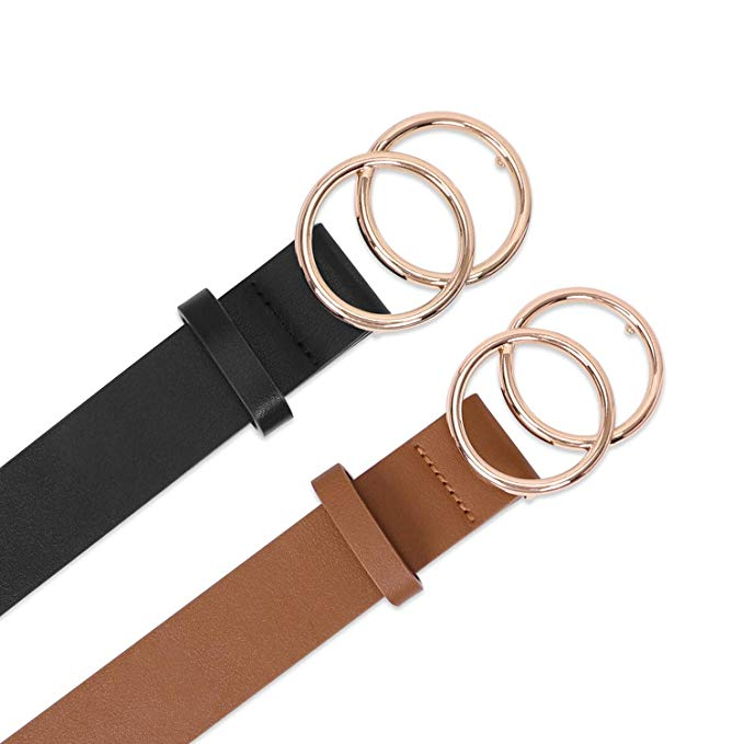 BALTEUS 2 Pack Women Leather Belts Faux Leather Jeans Belt with Double O-Ring Buckle - JASGOOD-OFFICIAL