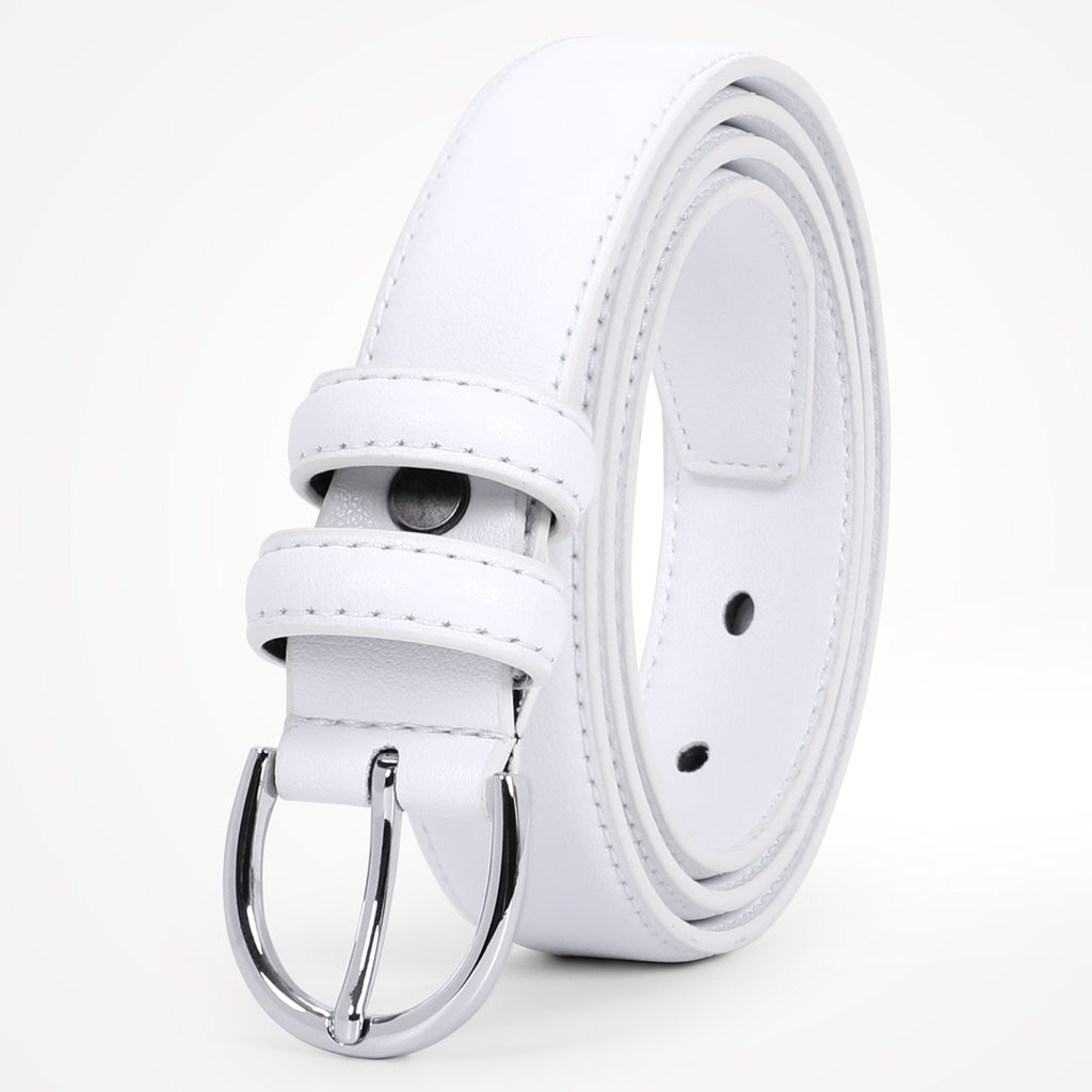 WERFORU Women Leather Belt Skinny Dress Belt for Jeans Pants with Silver Buckle