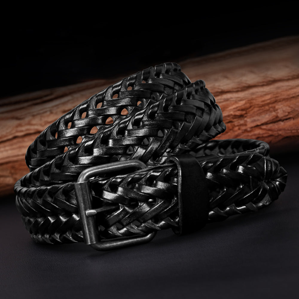 Men's Leather Braided Belt, JASGOOD Cowhide Leather Woven Belt for Jeans 1.3 Inch Wide with Prong Buckle
