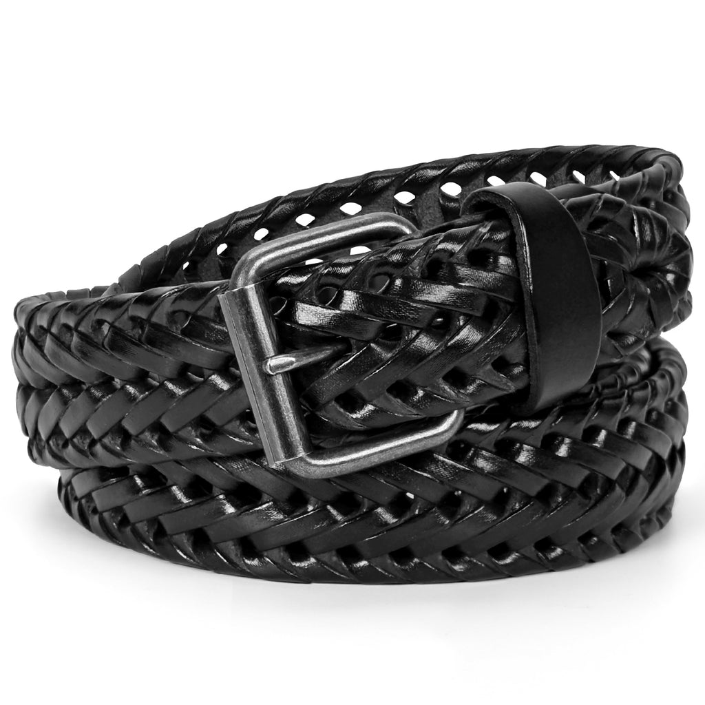 Men's Leather Braided Belt, JASGOOD Cowhide Leather Woven Belt for Jeans 1.3 Inch Wide with Prong Buckle - JASGOOD-OFFICIAL