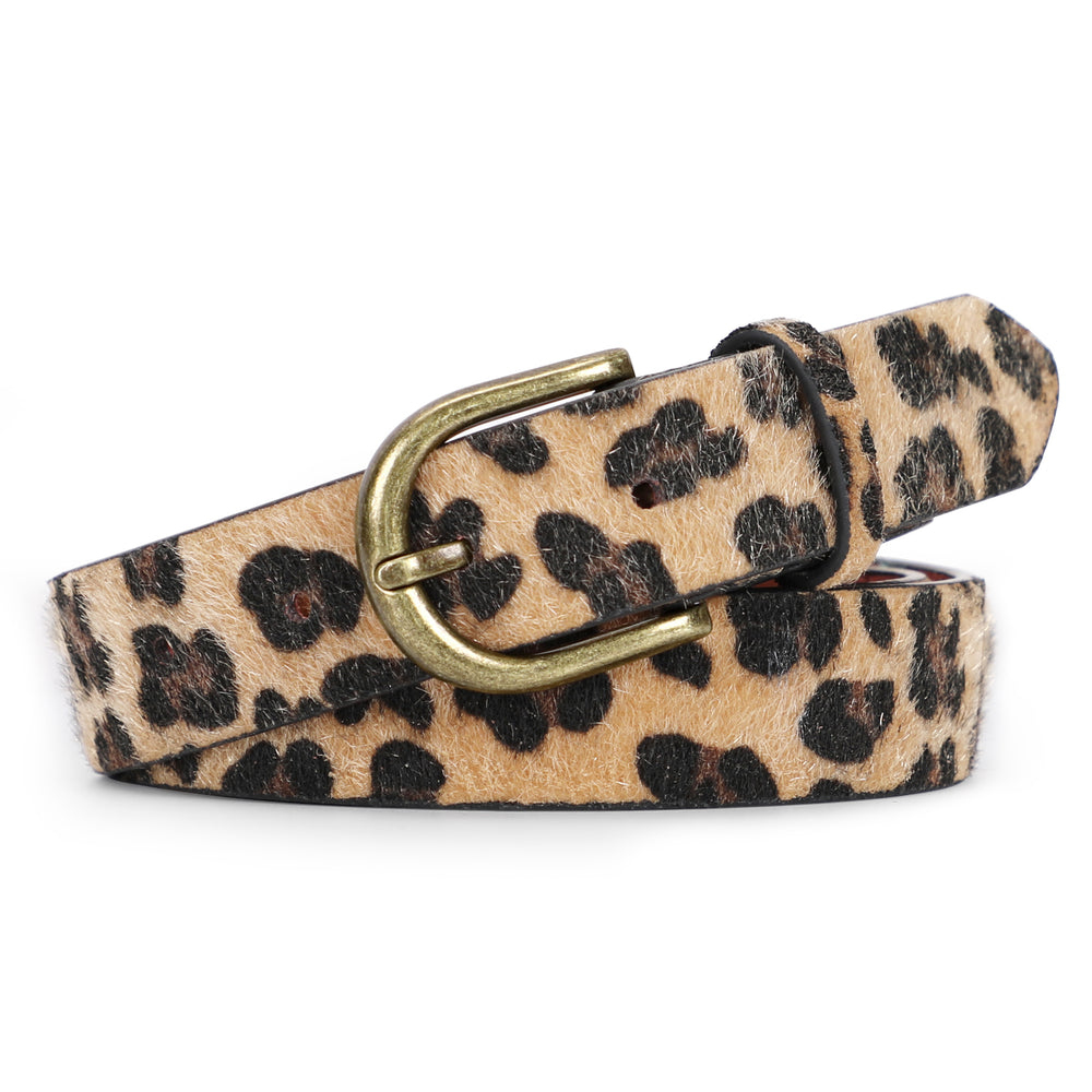 Leopard Print Leather Belt for Women Jeans Pants Waist Belt for Dresses