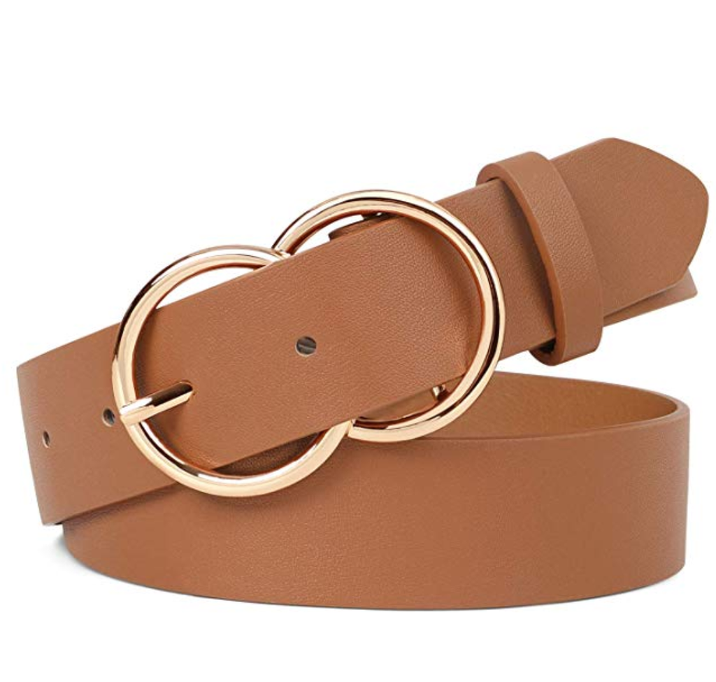 JASGOOD Double O Ring Belt for Women,Faux Leather Waist Belts for Jeans Dress-Fashion Women's Leather Belt