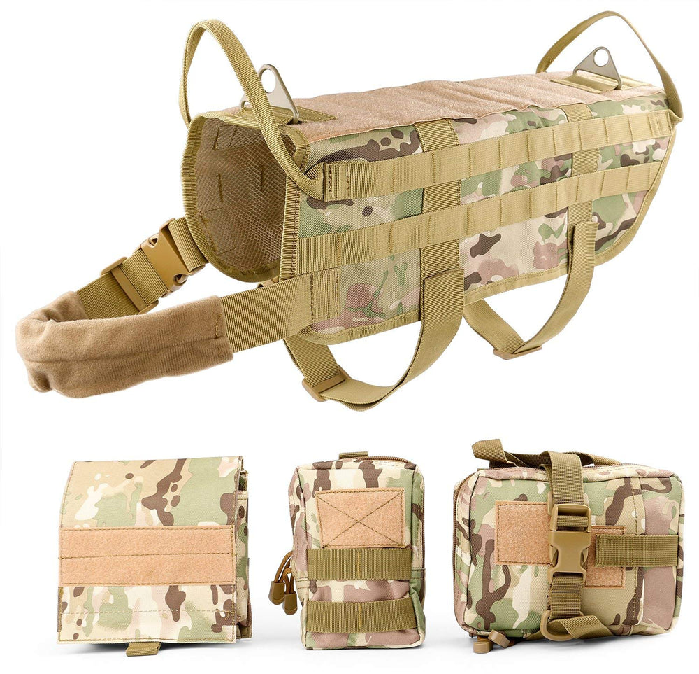 Tactical Dog Vest Harness Handle Training Dog Vest with Detachable Molle Pouches/Patches  by JASGOOD