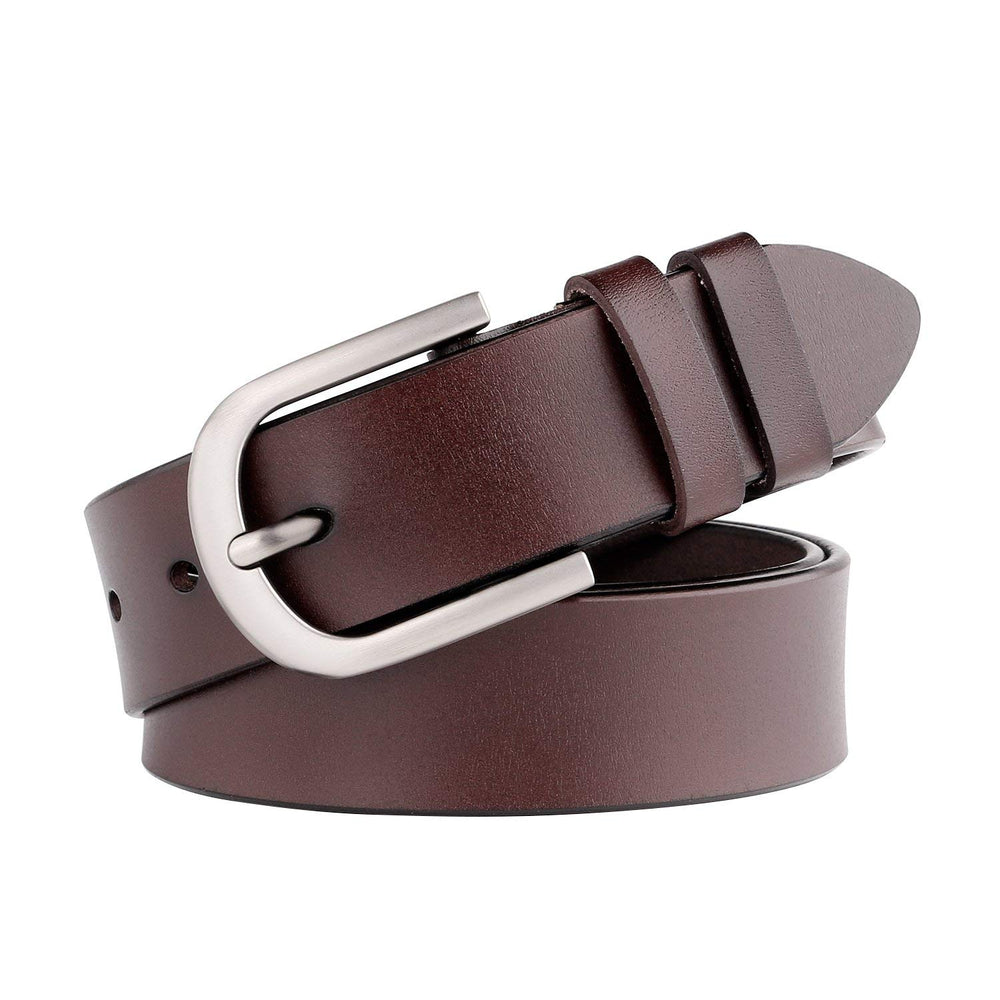 Women Leather Belt for Jeans Pants Dresses Black Ladies Waist Belt With Pin Buckle - JASGOOD-OFFICIAL
