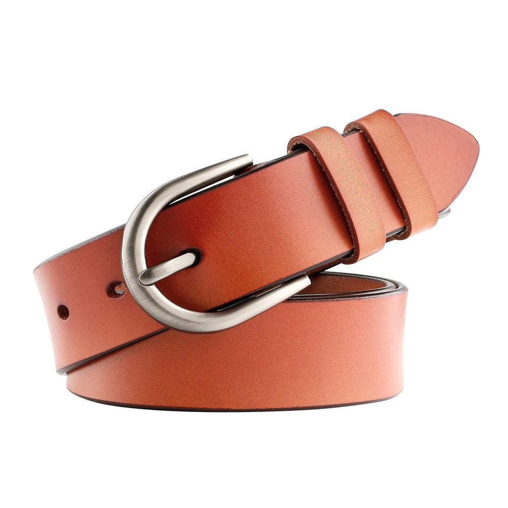 Women Leather Belt for Pants Dress Jeans Waist Belt with Brushed Alloy Buckle By JASGOOD