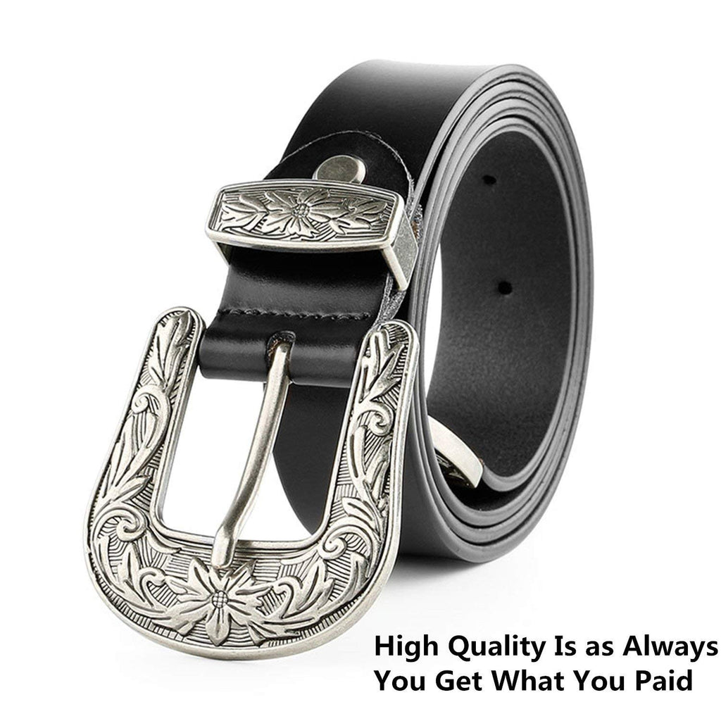 Women Leather Belts Ladies Vintage Western Design Black Waist Belt for Pants Jeans Dresses - JASGOOD-OFFICIAL