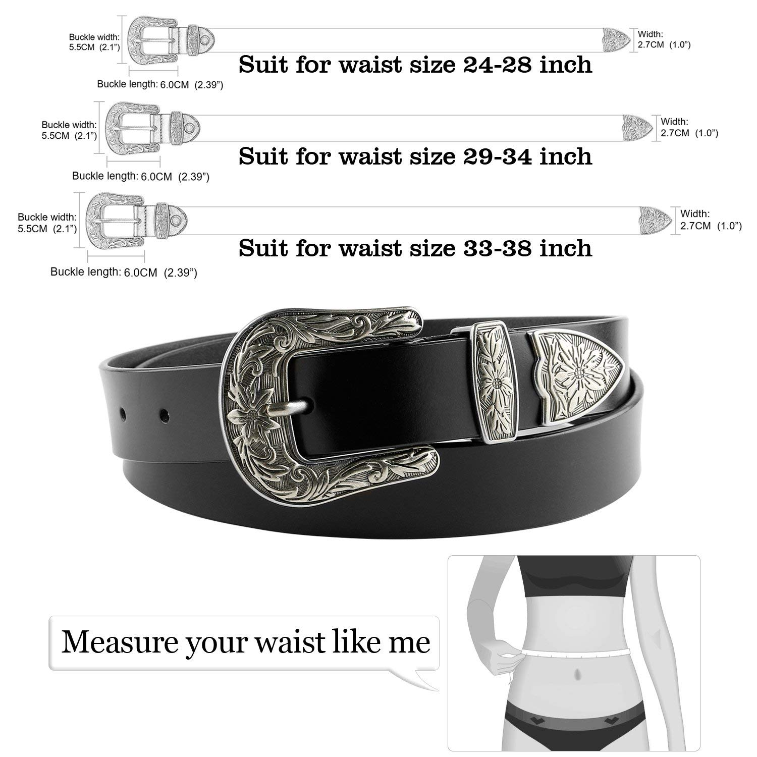 a76a51bb3a Women Leather Belts Ladies Vintage Western Design Black Waist Belt –  JASGOOD-OFFICIAL