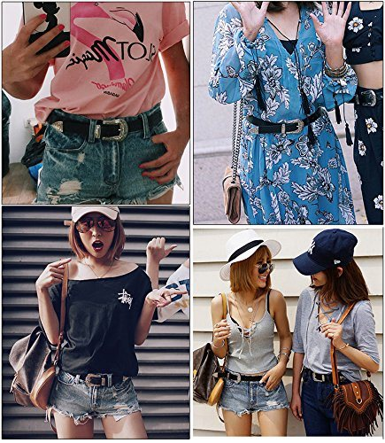 Women Leather Belts Ladies Vintage Western Design Black Waist Belt for Pants Jeans Dresses - JASGOOD OFFICIAL