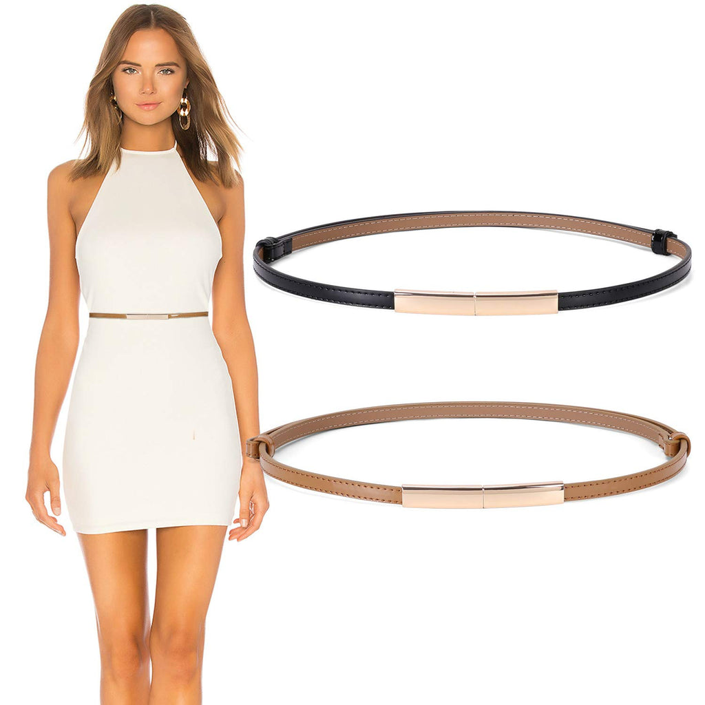 Women's Skinny Leather Belt Adjustable Slim Waist Belt with Gold Alloy Buckle for Dress By JASGOOD