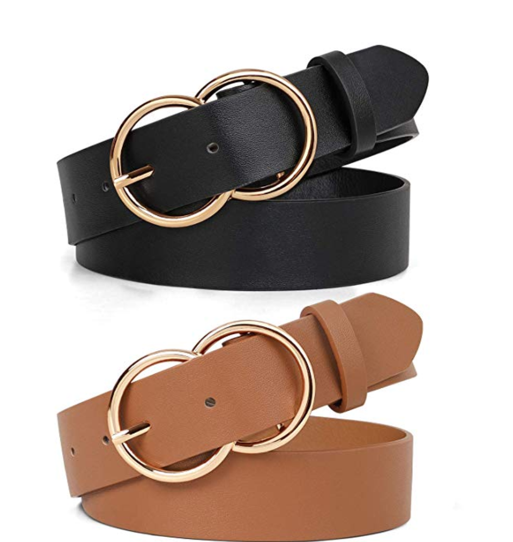 JASGOOD Double O Ring Belt for Women,Faux Leather Waist Belts for Jeans Dress-Fashion Women's Leather Belt - JASGOOD-OFFICIAL