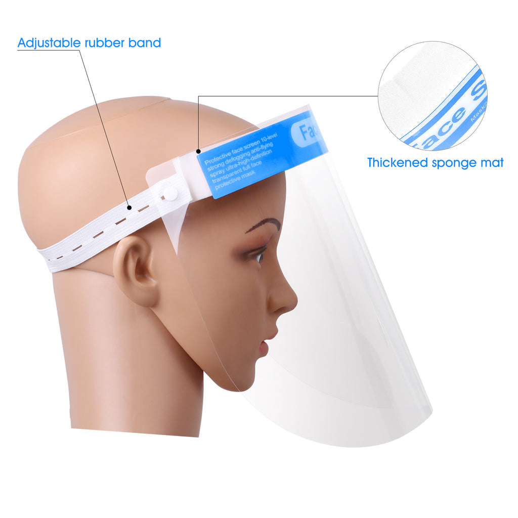 Safety Face Shield Transparent Full Face Protective Mask with Comfort Sponge and Adjustable Elastic Band/2 pack