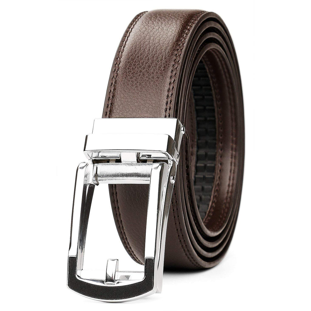 "Leather Ratchet Dress Belt for Men Perfect Fit Waist Size Up to 44"" with Automatic Buckle"