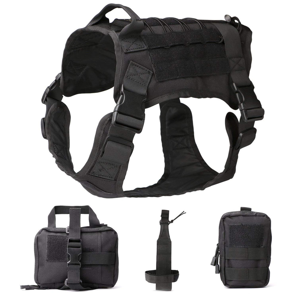 Tactical Dog Vest Military Harness With Detachable Molle Pouches/Patches Outdoor Training Handle Service Dog Vest by JASGOOD