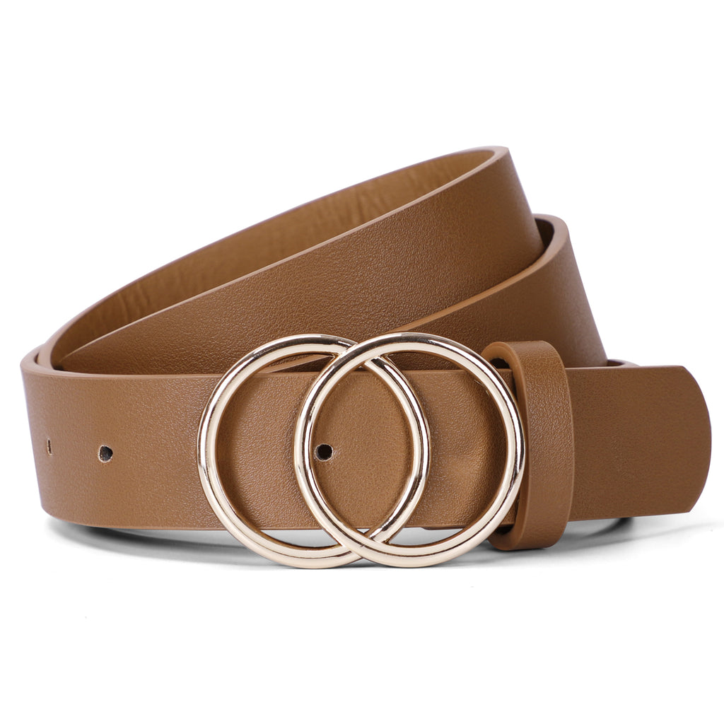Women Leather Jeans Belt for Pants, Ladies Plus Size Waist Belts Double Ring Buckle By JASGOOD