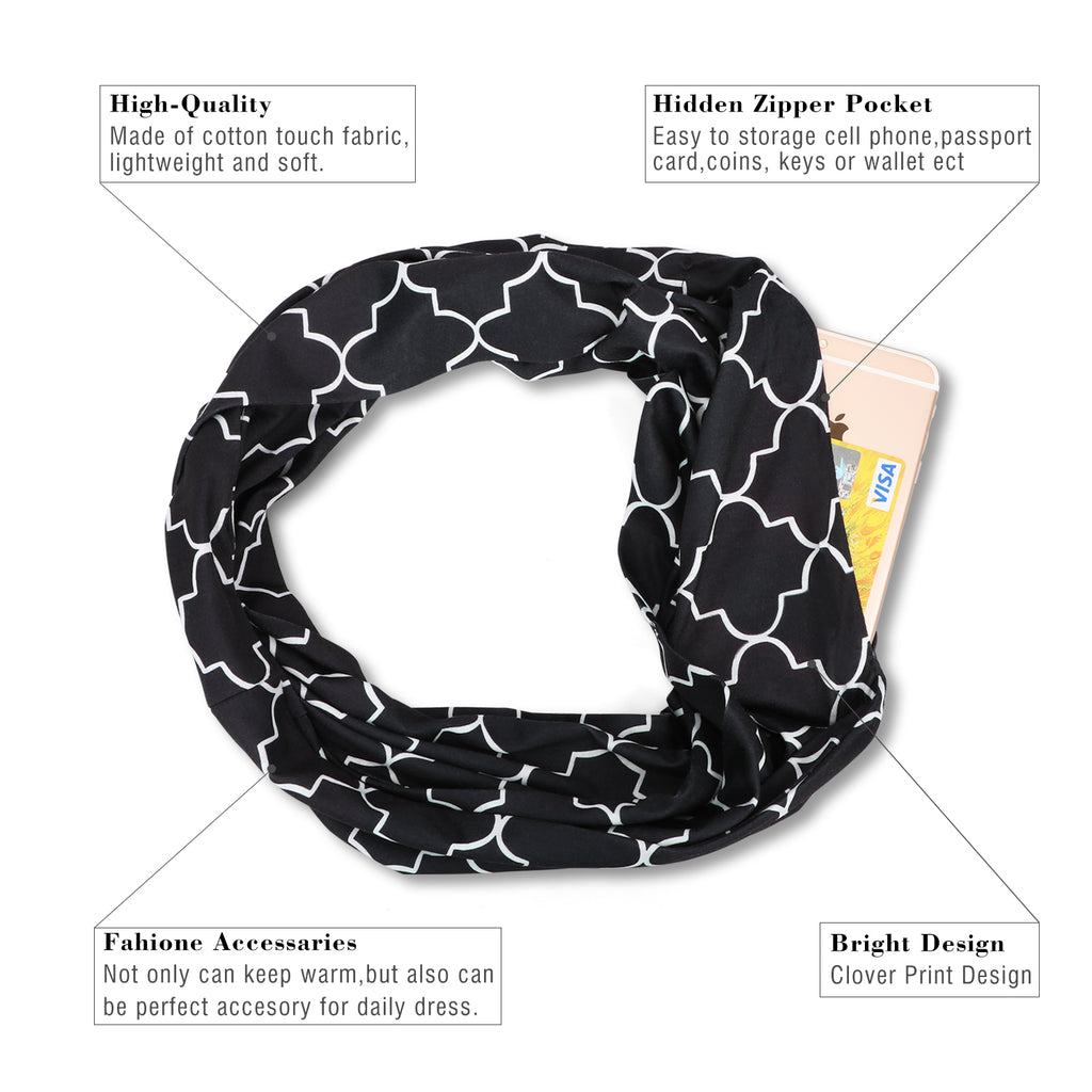 JASGOOD Fashion Scarf for Women,Ladies, Girls, Infinity Scarf With Zipper Secret Pocket Pattern Print Lightweight Wrap