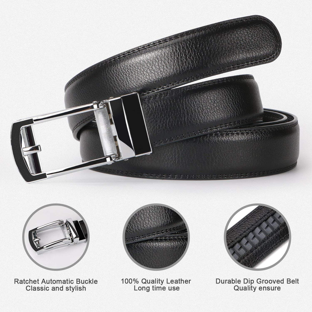 2 Pack Leather Ratchet Dress Belt  with Automatic Buckle for men by JASGOOD - JASGOOD-OFFICIAL