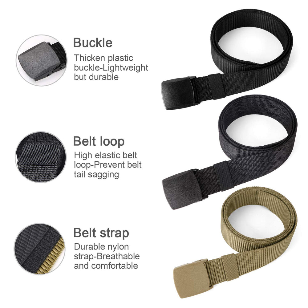 Mens Nylon 1.5in Width Adjustable Belt With Military Plastic Buckle by JASGOOD
