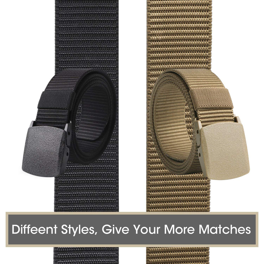 Nylon Military Tactical Belt 2 Pack Webbing Canvas Outdoor Web Belt With Plastic Buckle