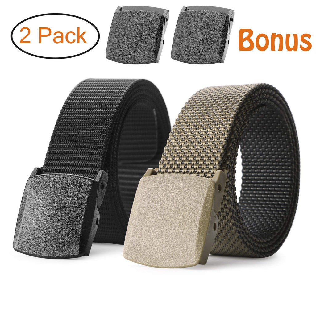 Nylon Military Tactical Belt 2 Pack Webbing Canvas Outdoor Web Belt With Plastic Buckle - JASGOOD-OFFICIAL