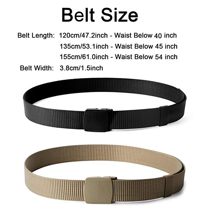 Nylon Military Tactical Belt 2 Pack Webbing Canvas Outdoor Web Belt With Plastic Buckle-JASGOOD OFFICIAL