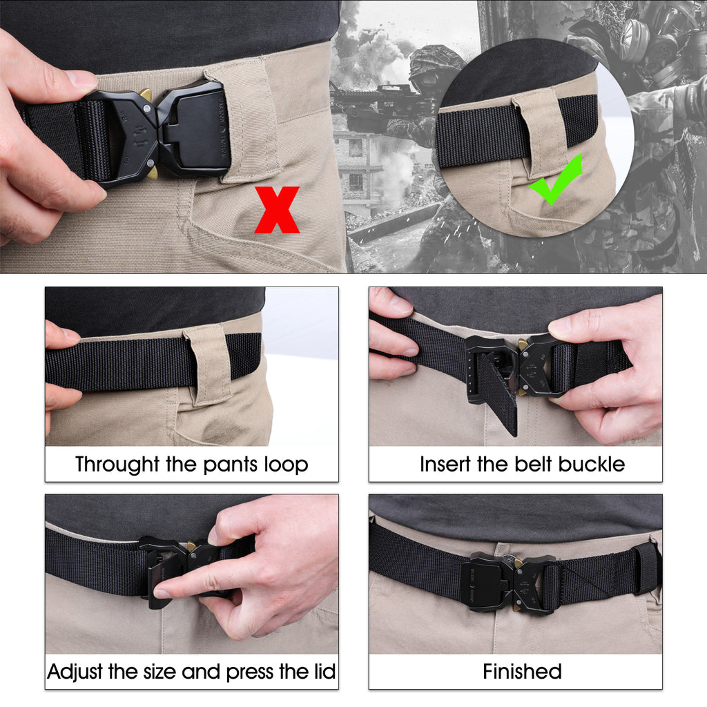 JASGOOD Men Tactical Belt, Military Style Webbing Riggers Web Belt Heavy-Duty Quick-Release Metal Buckle