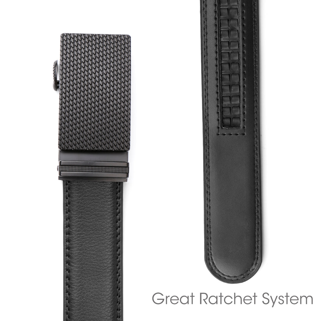 Men's Leather Ratchet Dress Belt with Automatic Buckle in Gift Box by JASGOOD