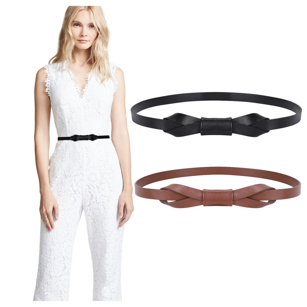 JASGOOD Women Leather Skinny Belt for Dress Adjustable Thin Waist Belt for Lady
