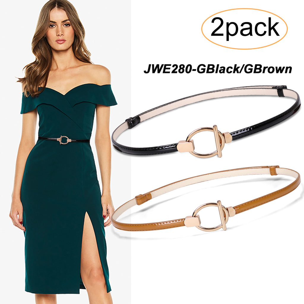 Women's Skinny Leather Belt Adjustable Slim Waist Belt with Gold Alloy Buckle for Dress By JASGOOD - JASGOOD OFFICIAL