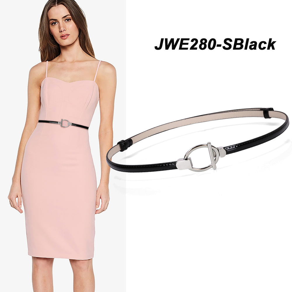 Women's Skinny Leather Belt Adjustable Slim Waist Belt with Gold Alloy Buckle for Dress By JASGOOD - JASGOOD-OFFICIAL