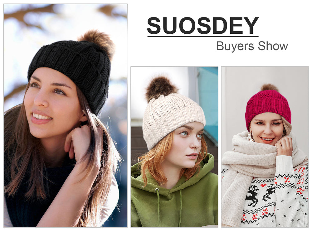 SUOSDEY Womens Trendy Winter Knit Beanie Hat Warm and Soft Skull Ski Cap for Women