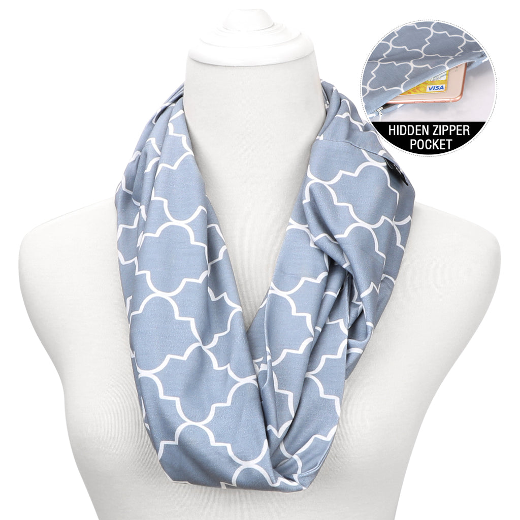 JASGOOD Fashion Scarf for Women,Ladies, Girls, Infinity Scarf With Zipper Secret Pocket Pattern Print Lightweight Wrap - JASGOOD-OFFICIAL