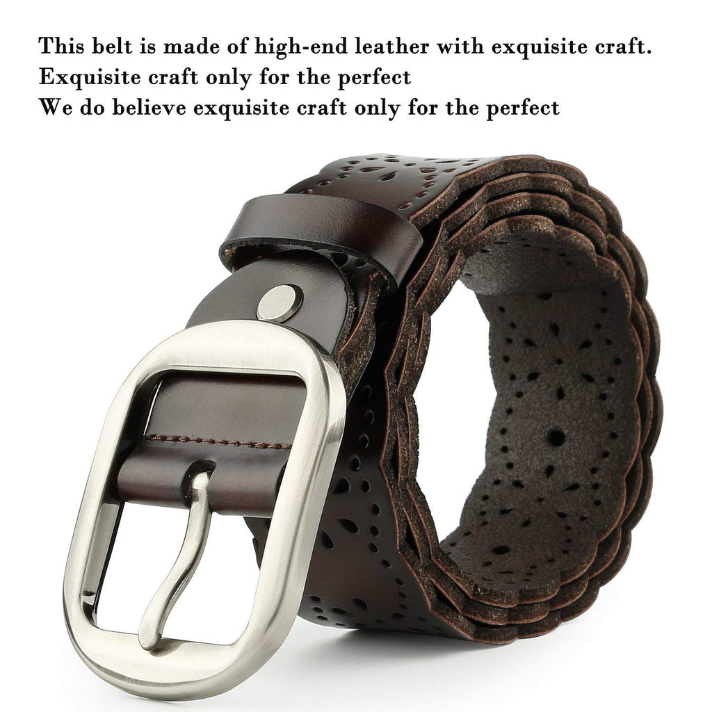 Women's Hollow Flower Genuine Cowhide Leather Belt With Alloy Buckle by JASGOOD