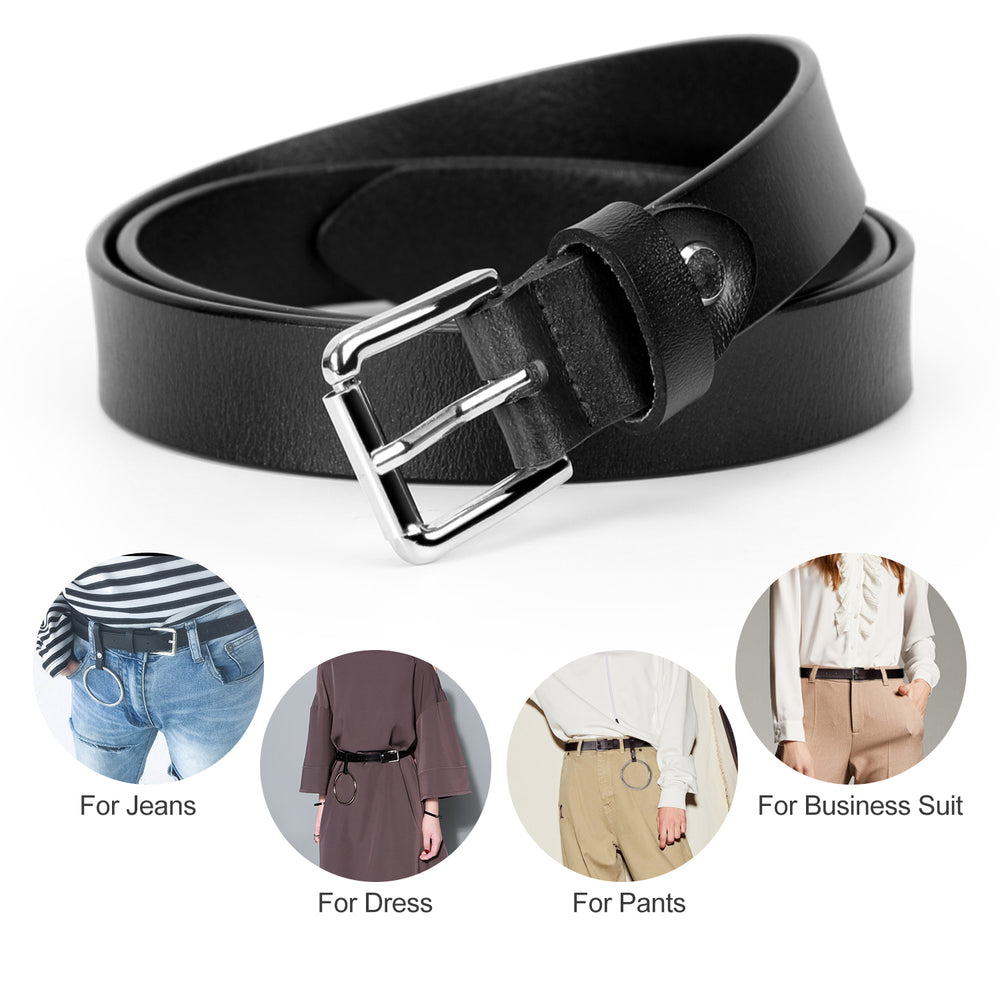 Women's Leather Belt Fashion Skinny Leather Waist Belts with Detachable O Ring For Jeans Dresses