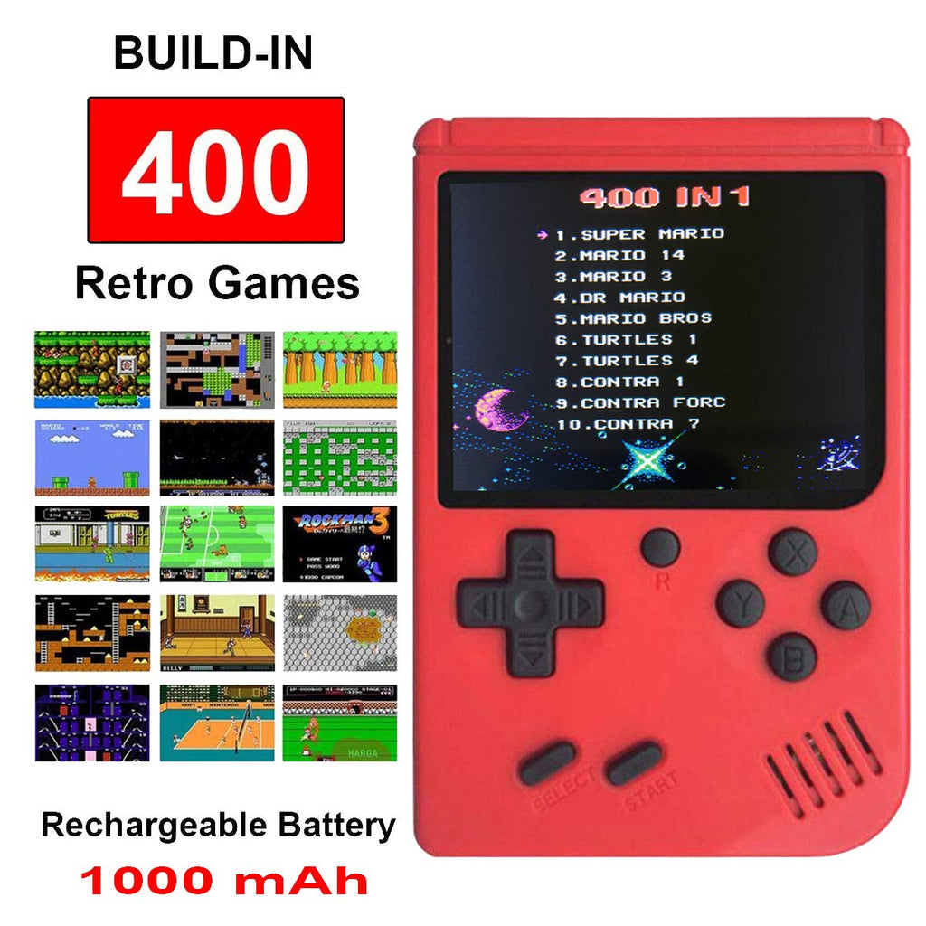 Mini Retro Handheld FC Games Consoles ,Built-in 400 Classic Game, Portable Gameboy 3 Inch LCD Screen TV Output