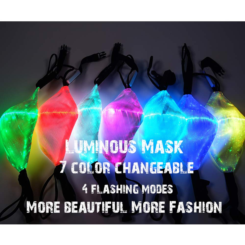 Reuseable Rechargeable 7 Color Lights LED Light up Face Mask USB for Party Festival Dancing Rave Masquerade Costumes