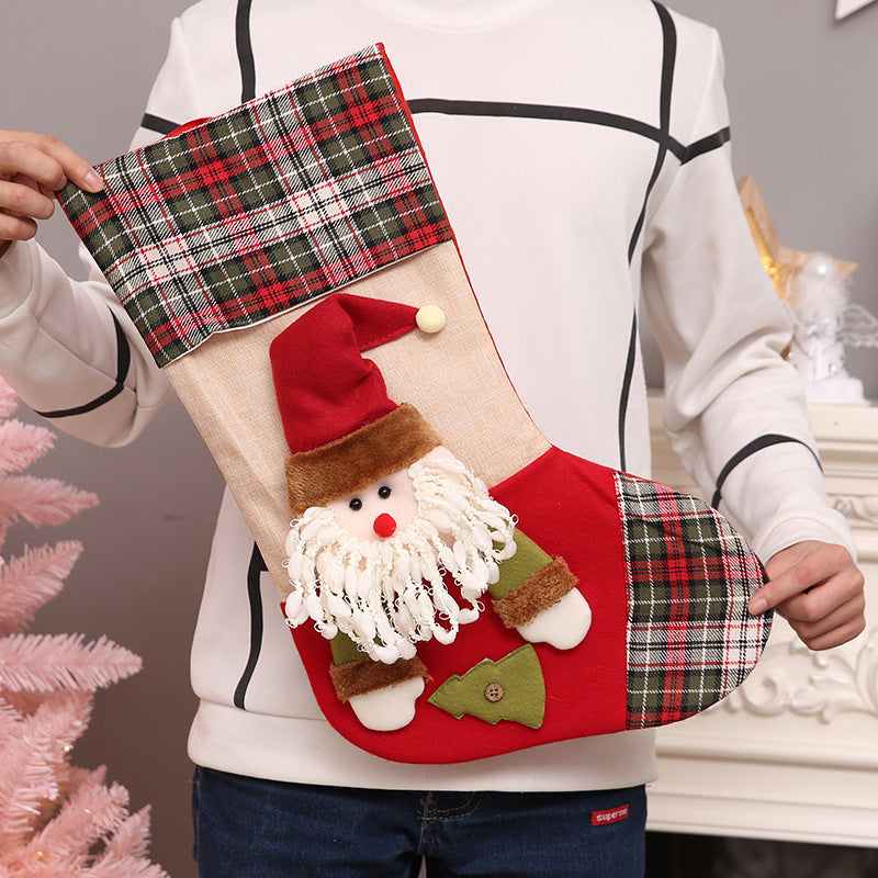 3D Plush Christmas Stockings GIfts Holder&Decoration