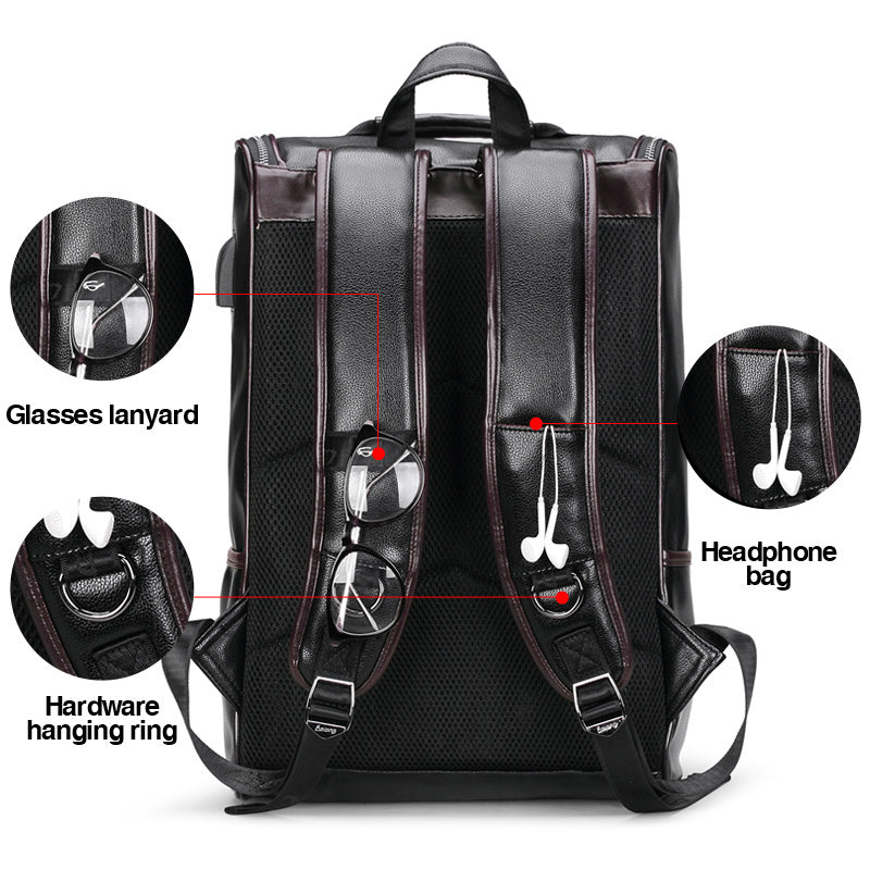 15inch Leather Waterproof Laptop Backpack with a USB College
