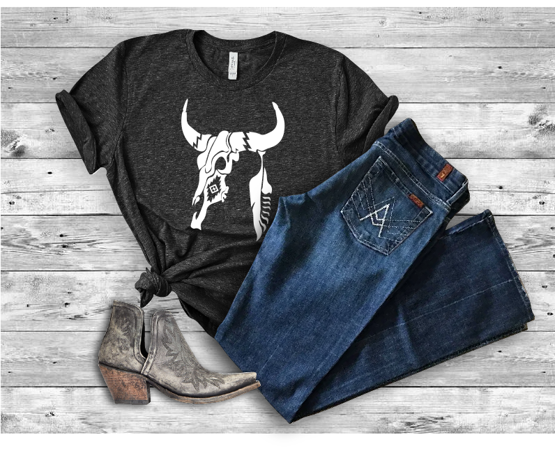 Cow Skull And Feather Bella Canvas 3001 Tee