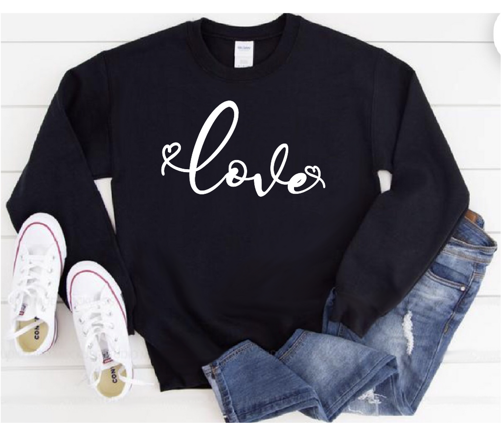 Love Cursive Unisex Long Sleeve Sweatshirt